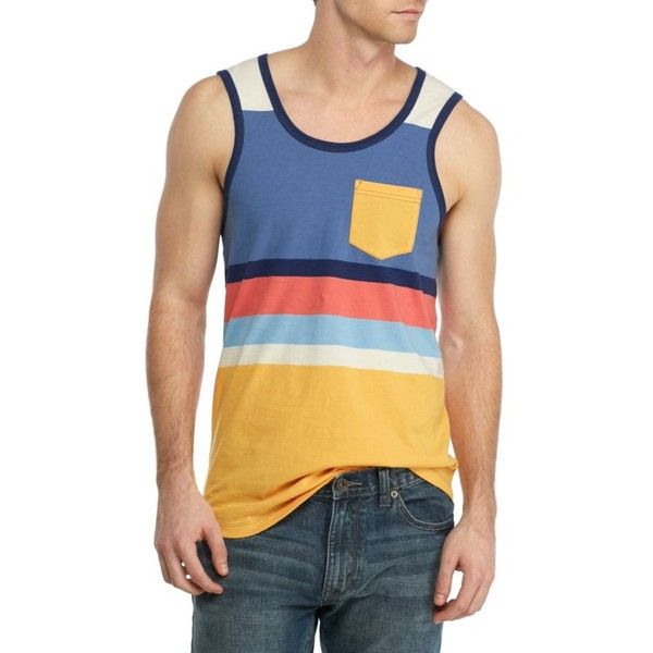 60535c72de6163 Red Camel Blue Retro Stripe Sleeveless Retro Stripe Tank ( 20) ❤ liked on  Polyvore featuring men s fashion