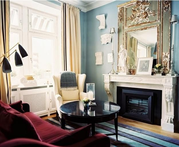 25 Ideas For Modern Interior Design And Decorating With Marsala Red Wine Color Light Blue Living Room Small Living Rooms Blue Living Room #red #and #blue #living #room #ideas