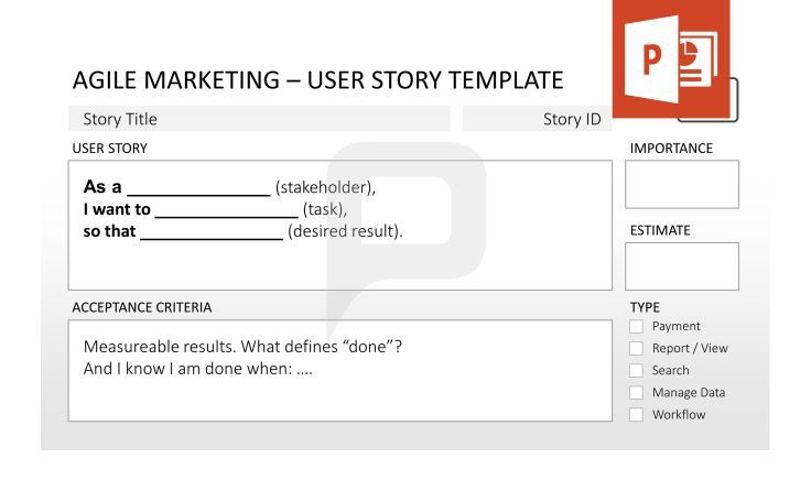 Agile Marketing for PowerPoint Always keep the User Story in mind - user story template