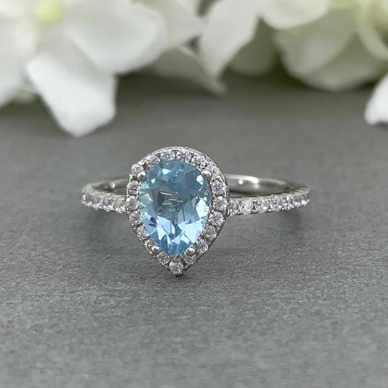Blue Topaz Ring Engagement Halo Cluster Solid Sterling Silver Ladies