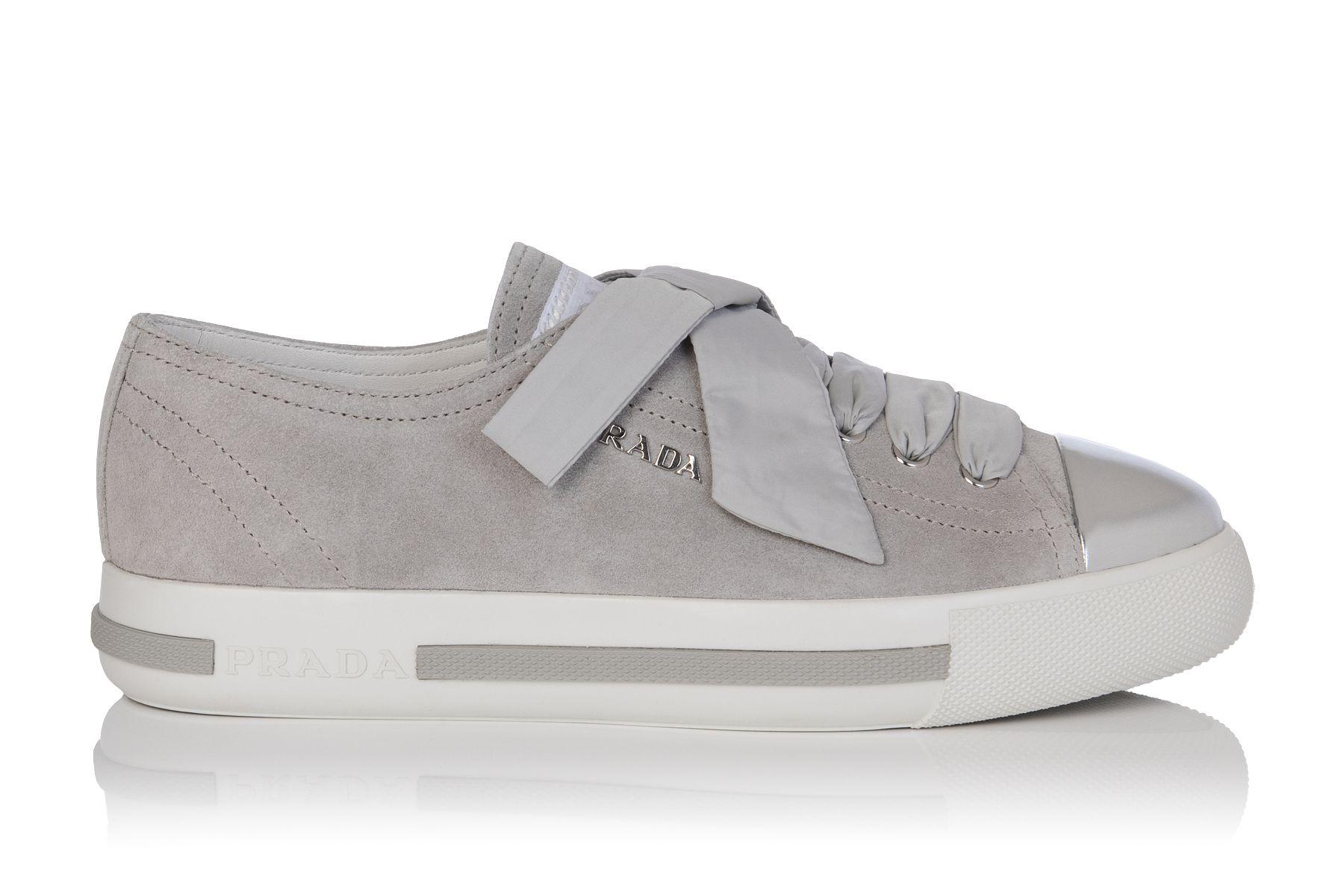 Leather Metallic Cap Toe Sneakers #Prada #Sneakers