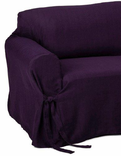 3 Piece Jacquard Stripe Fabric Solid Dark Purple Couch Sofa