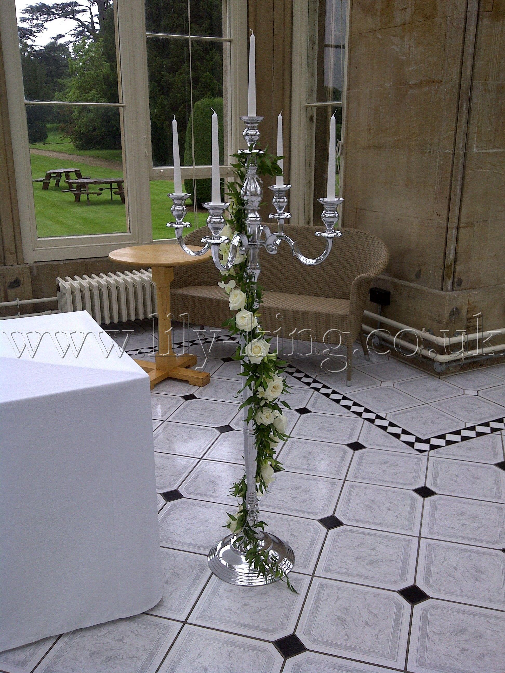 Silver Floor Standing Candelabra With Flower Garland
