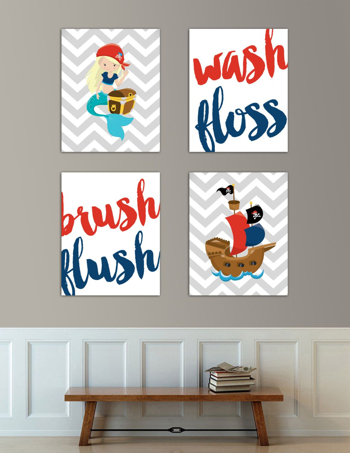 Bathroom wall art for kids - Kids Bathroom Art Wash Brush Floss Flush Pirate Mermaid