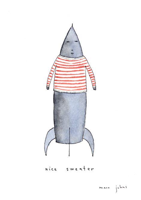 rocket wearing a nice sweater