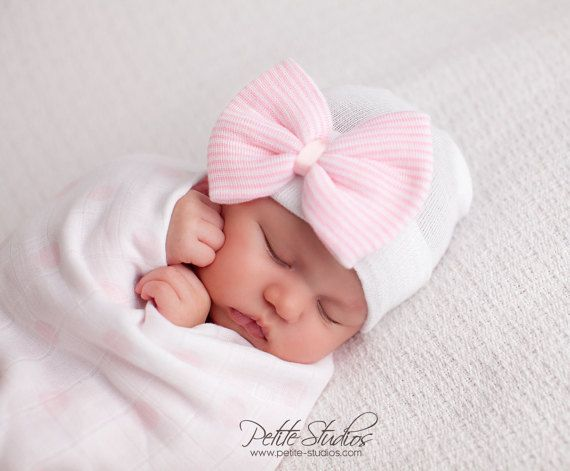 163d4939a Hospital Newborn hat Newborn baby girl beanie with bow pink Newborn ...