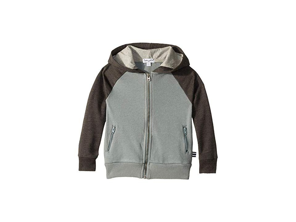Splendid Littles Raglan Hoodie (Little Kids) (Asphalt) Boy's Sweatshirt. Elevate his casual style with the comfy and cool Splendid Littles Raglan Hoodie. Superbly-soft mixed-knit hooded jacket boasts a slim-sift design. Attached hood features a contrast lining. Long  contrasting raglan sleeves. Two front zippered pockets. Full-zip front closure. Straight hemline. 58% cotton  42% rayon. Machine wash cold  tumble dry low. Import #SplendidLittles #Apparel #Top #Sweatshirt #Black