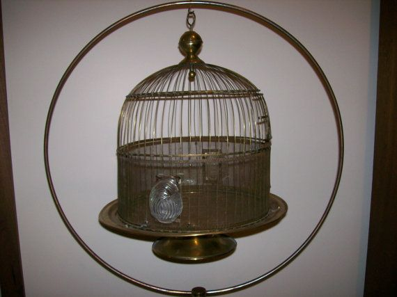 Antique BRASS BIRD CAGE with Stand by buckeyeantiques on Etsy, $245.00