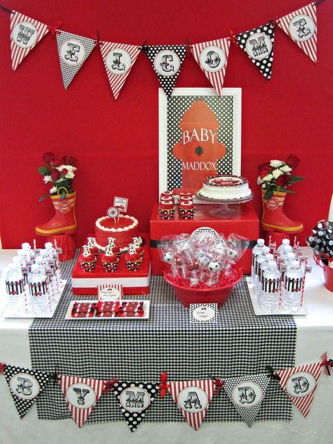 Firetrucks and dalmatians baby shower party ideas - Deco anniversaire pompier ...