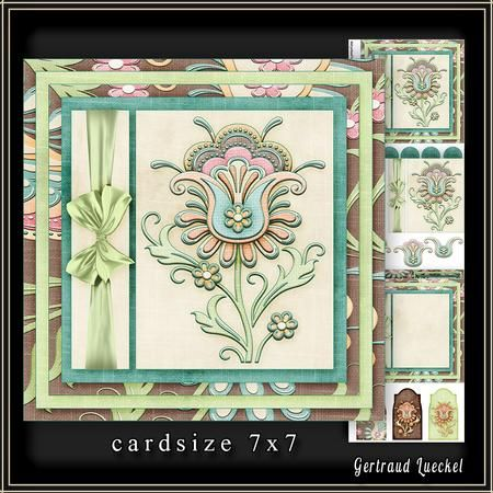 Cardtopper 7x7 with inlet soft Flower 222 on Craftsuprint - View Now!