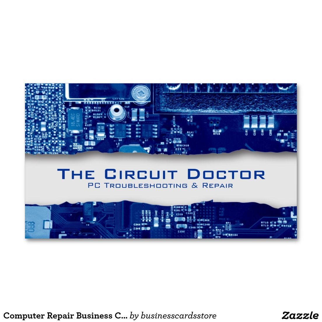 Computer Repair Business Card Electronic Circuits | Drawing and ...