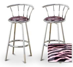 Tremendous 2 Pink Zebra Faux Fur Animal Print Specialty Custom Chrome Cjindustries Chair Design For Home Cjindustriesco