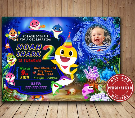 Baby Shark Birthday Invitation with photo, Personalized Baby
