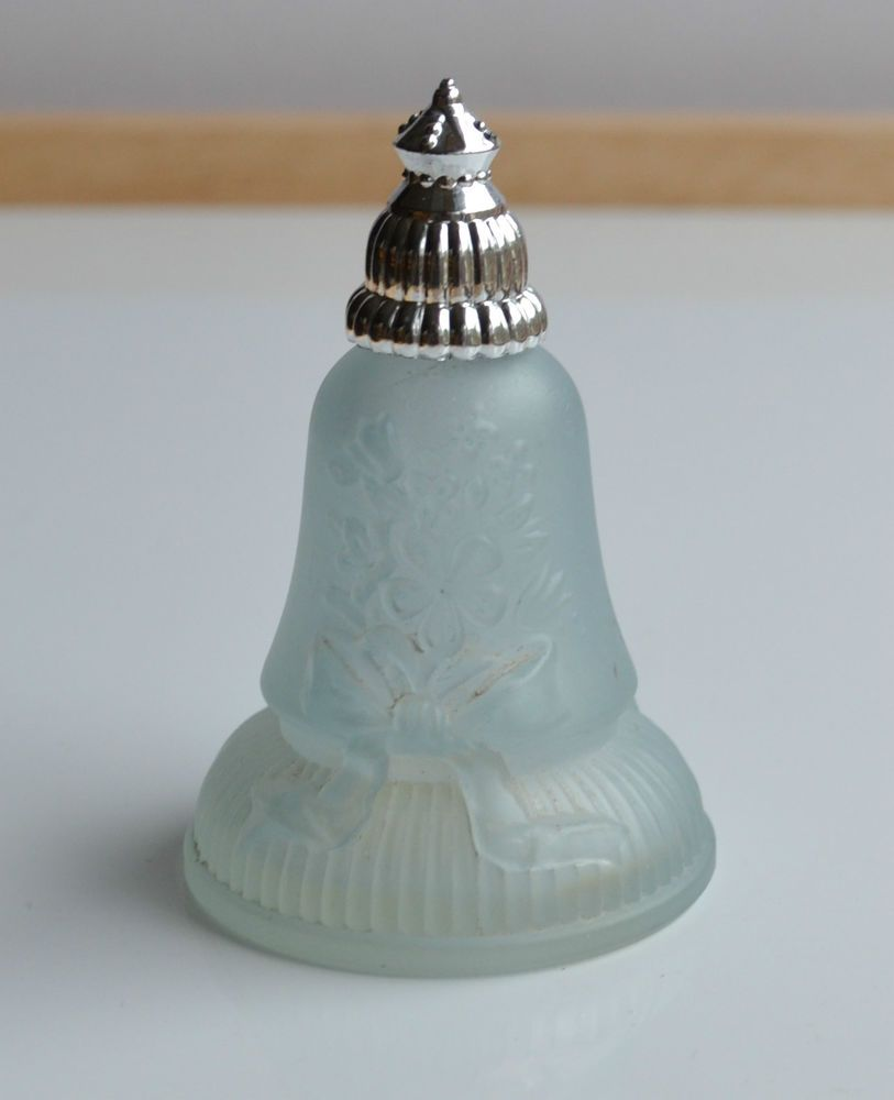 Rare Vintage 70 S Bell Perfume Bottle Avon Blue Frosted Glass Topaze Cologne