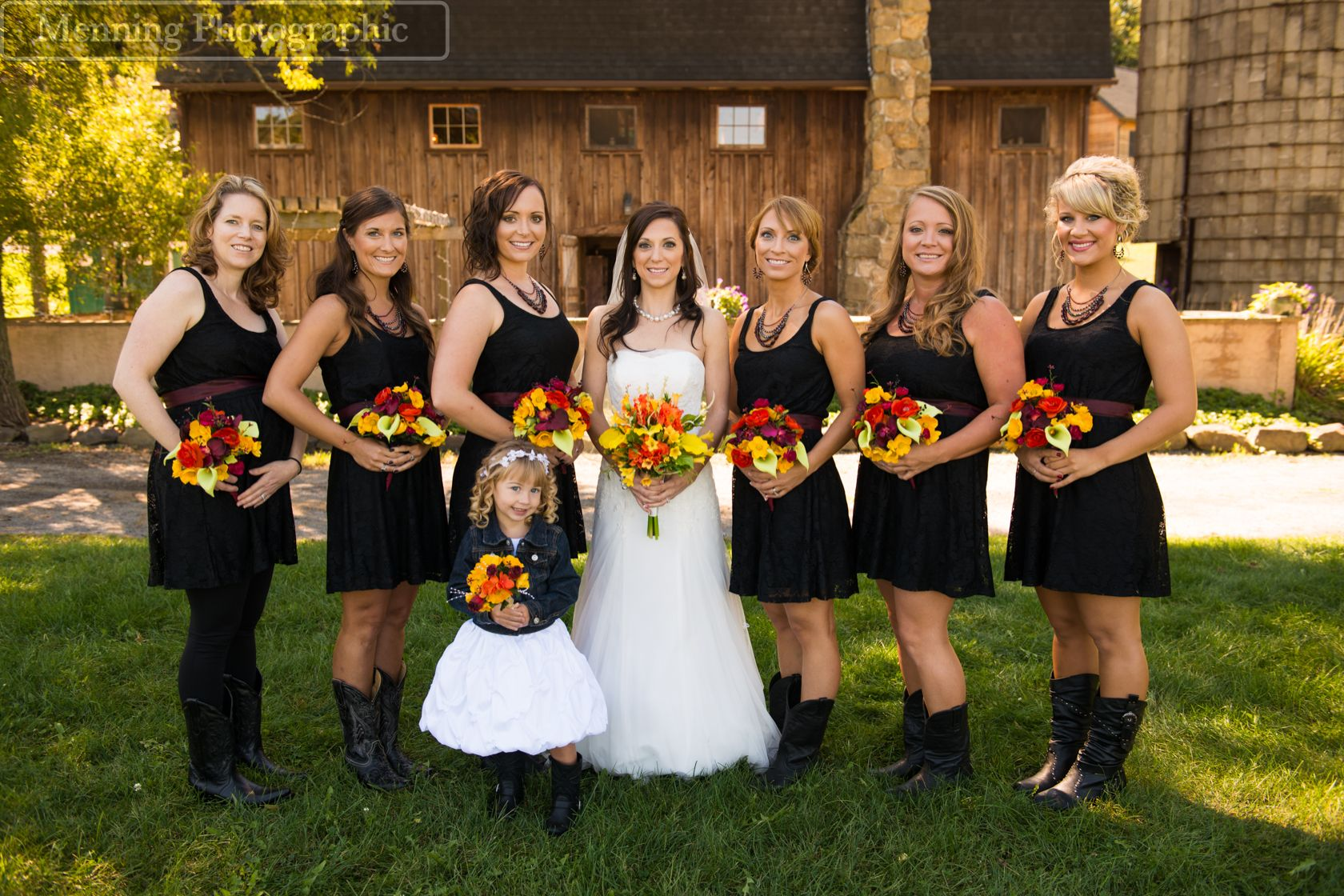 Bridal party with cowboy boots and black lace dresses for a rustic bridal party with cowboy boots and black lace dresses for a rustic barn wedding ombrellifo Image collections