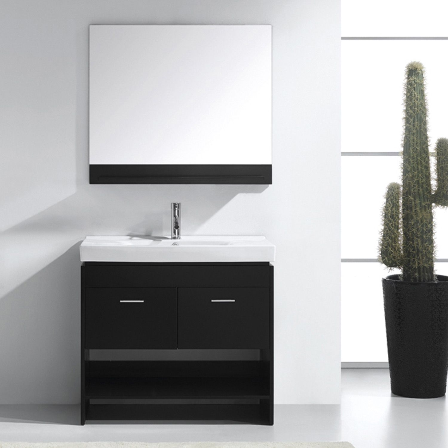 Virtu Usa Ms 555 C Es Gloria 36 Single Square Sink White Ceramic Top Vanity In Espresso With Polished Chrome Faucet And Mirror