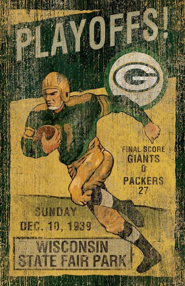 Green Bay Packers Art Vintage Wood Wall Art Green Bay Packers