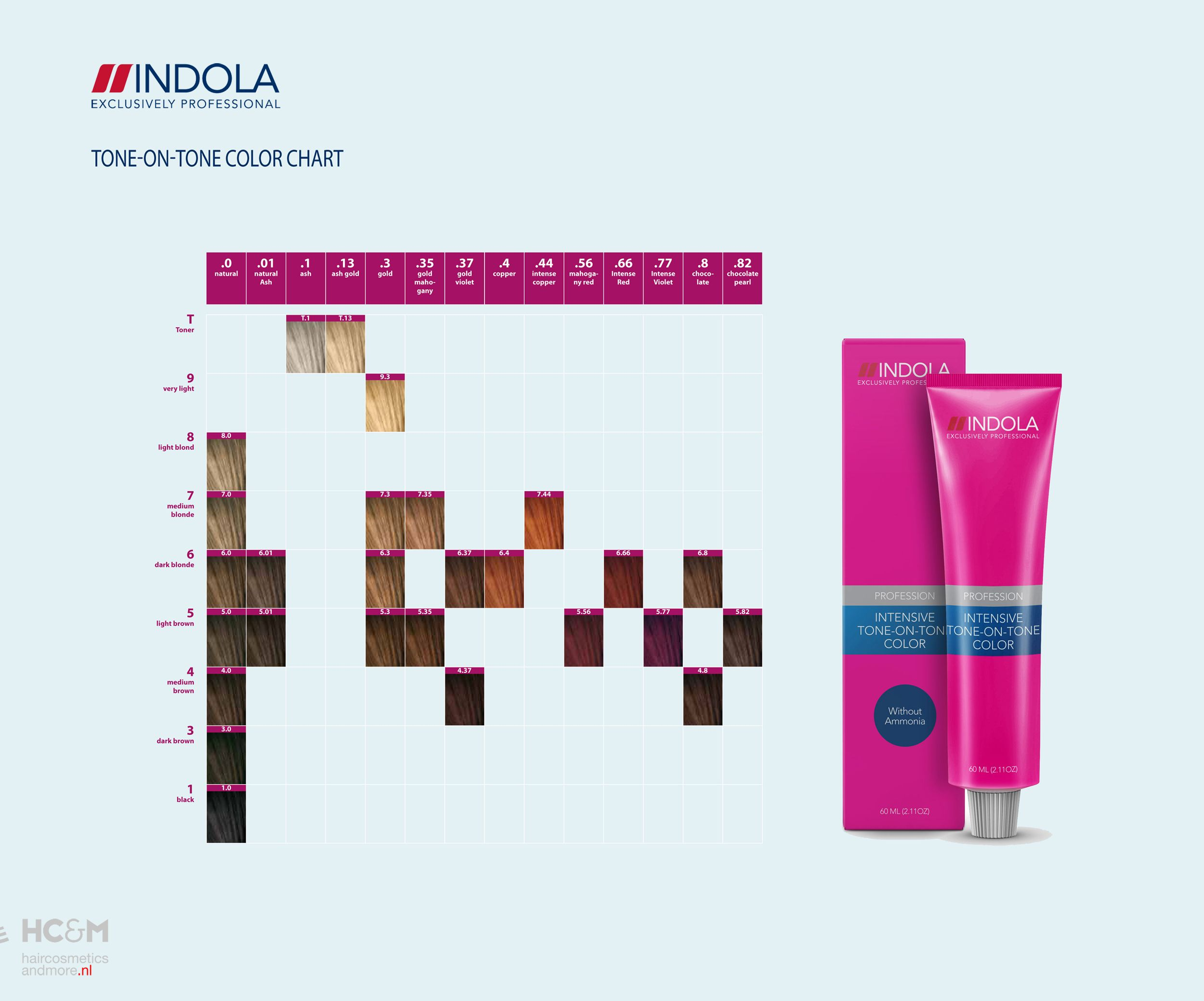 Tone On Tone Color indola intensive tone-on-tone color chart. | indola exclusively
