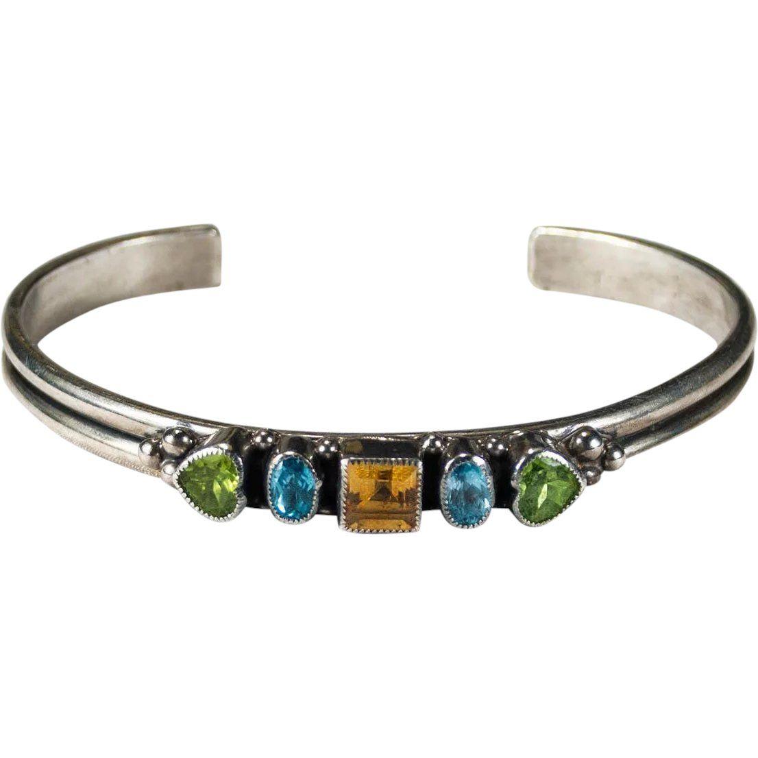 07c09c08c43 Gemstone Cuff by Susan Kinzig - Amethyst, Garnet, Iolite & Vesonite (Silver  & Stone Bracelet) in 2019   Products   Jewelry, Stone bracelet, Bracelets