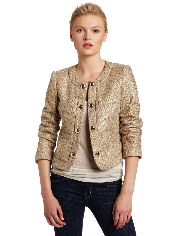 Chaus womens gold tweed jacket womens tweed jacket