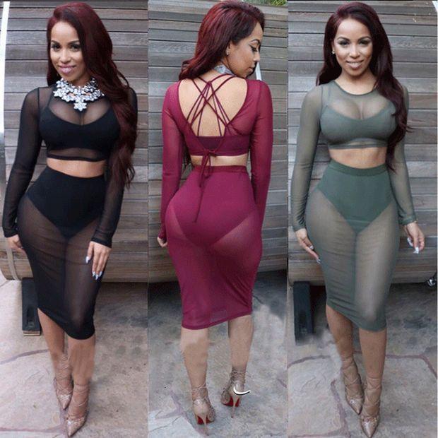 sexy club wear plus size women mesh dress sheer party dresses