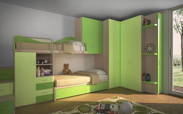 Cameretta con letto a castello e libreria baba pinterest modern interiors kids rooms and - Cameretta con letto a castello ...