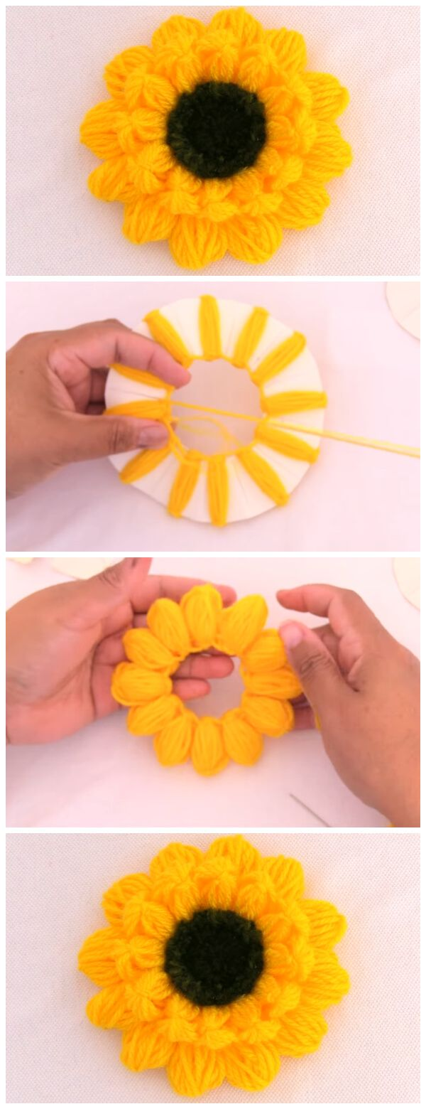 Sunflower Embroidery – Simple Trick - Crochet Kingdom #knittingideas
