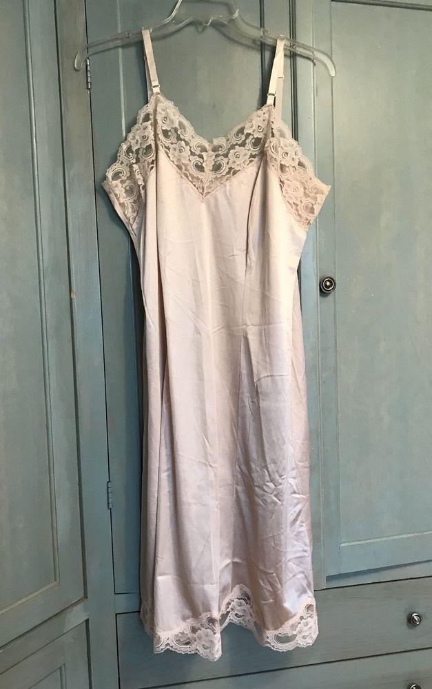47fbf3f541fac Lady Romance Lace Trim Nylon Full Slip Dress Beige Plus Size 42 Made in USA  #LadyRomance #Slip