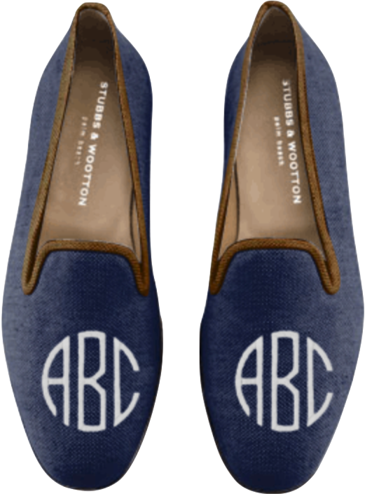 d2ee21ec3baf Men's Stubbs and Wootton - Classic Slipper with Navy Linen, Coco trim, and  Style 1 White Monogram (designed by me)