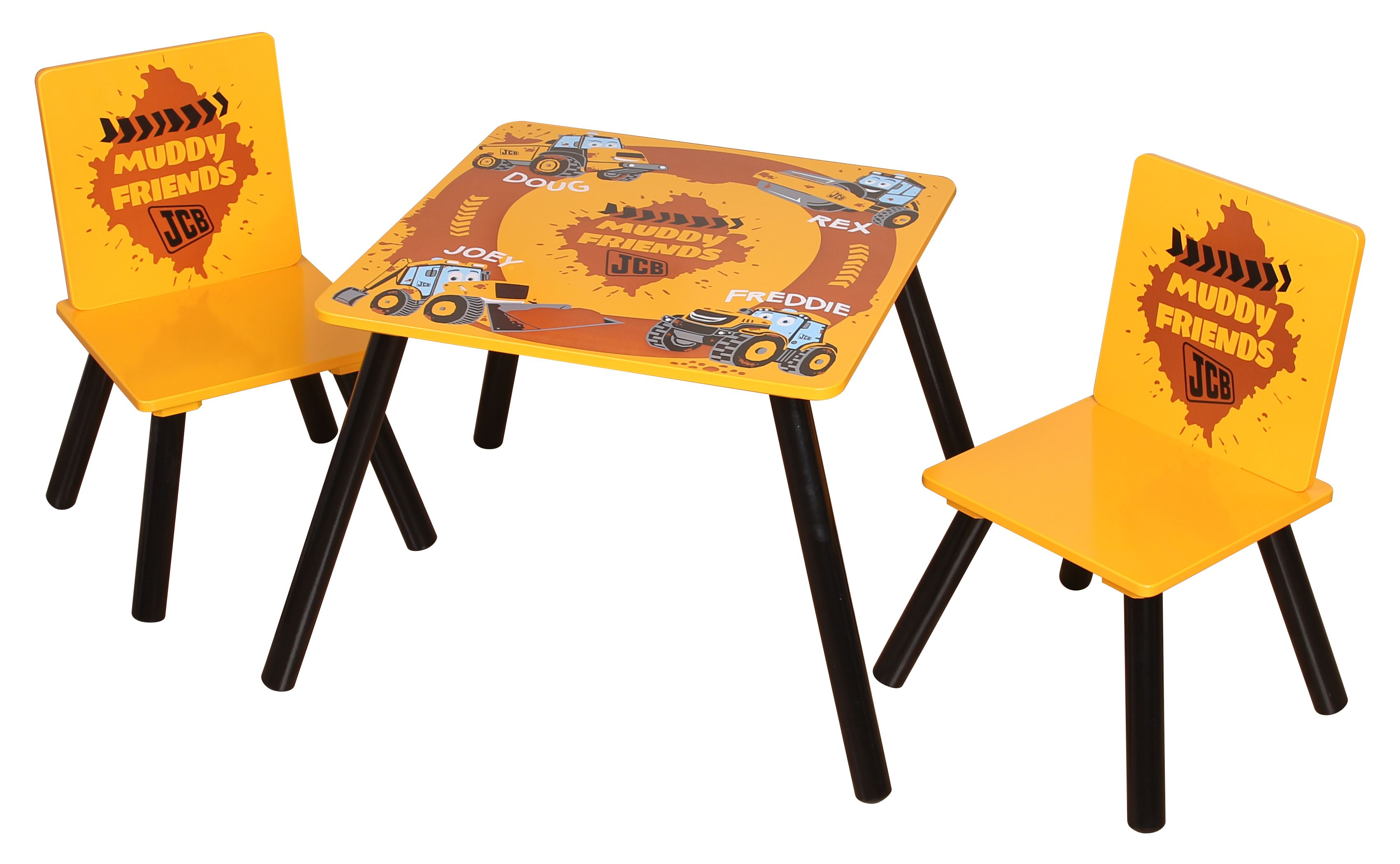 A JCB themed table and chair set where your child can sit to eat, do ...