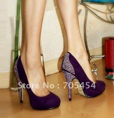 BS11540 purple rhinestones bridal wedding shoes crystals shoes