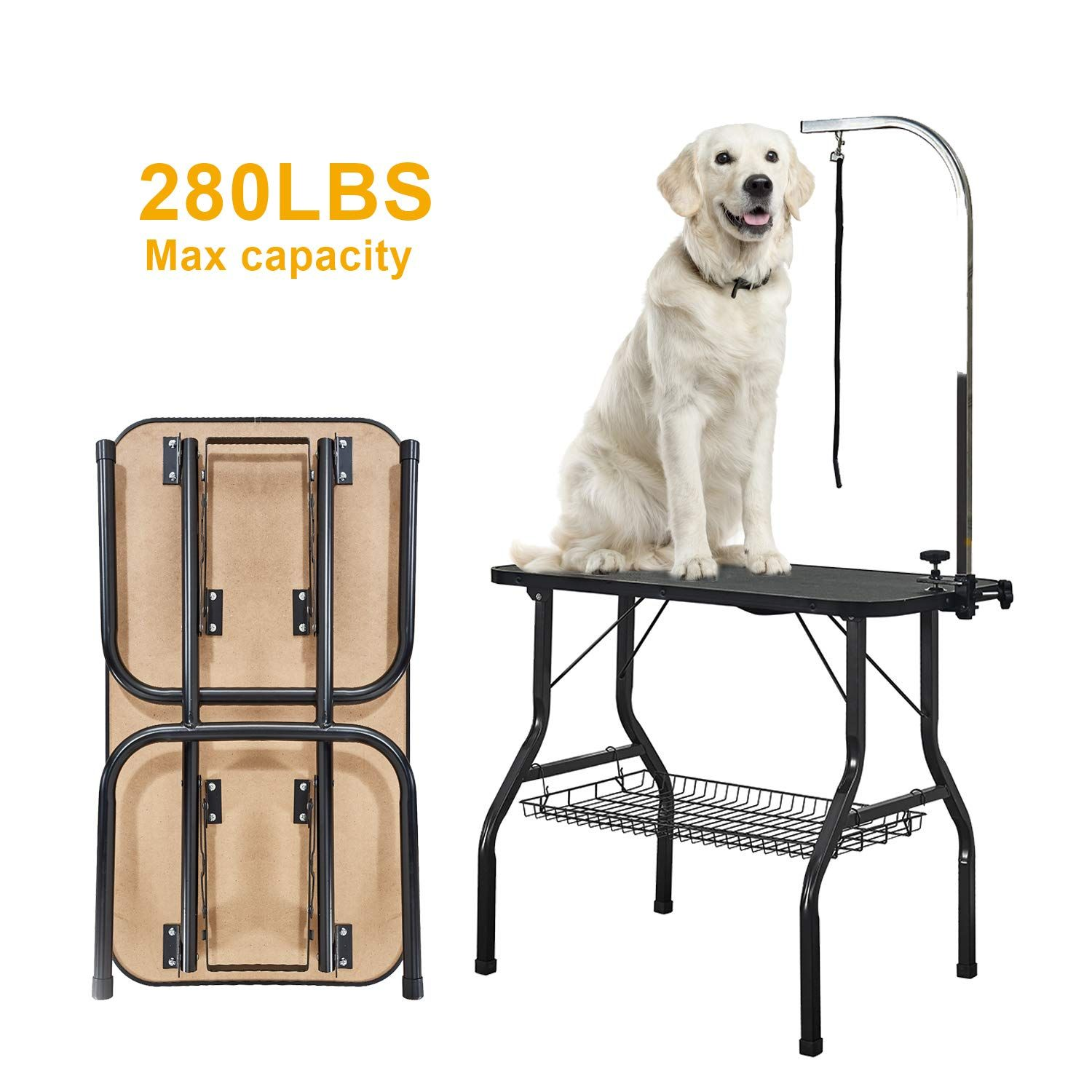 Vecela Pet Dog Grooming Table Small Size Heavy Duty 32 Foldable Portable With Adjustable Arm Clamp And Mesh Tray Be S Dog Grooming Dog Grooming Supplies Dogs