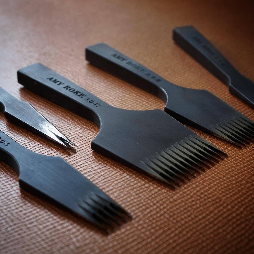 4mm Leather Craft Stitch Diamond Lacing Chisel Pricking Iron Punch Tool Kit Set