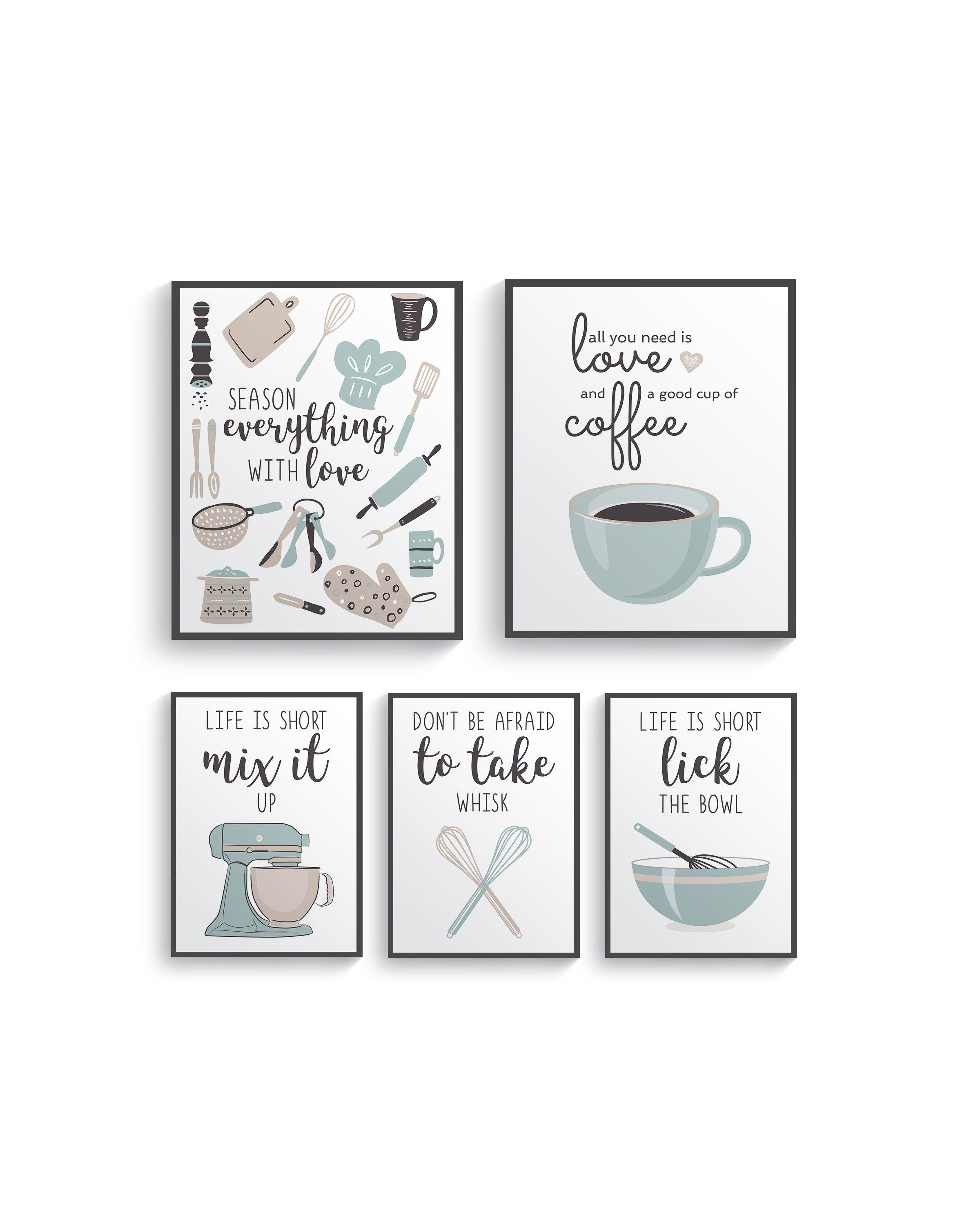 Funny Brown Blue Kitchen Wall Decor Brown Kitchen Wall Art Prints Set Kitchen Prints Modern Home Decor Dining Room Decor Blue Kitchen Decor Kitchen Wall Art Dining Room Wall Art