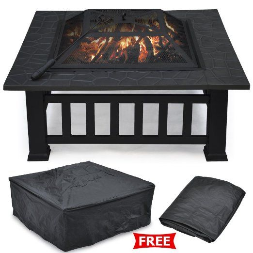 Yaheetech Outdoor 32 Quot Outdoor Metal Firepit Backyard Patio Garden Square Stove Fire Pit W Cover Square Fire Pit Fire Pit Backyard Wood Burning Fire Pit