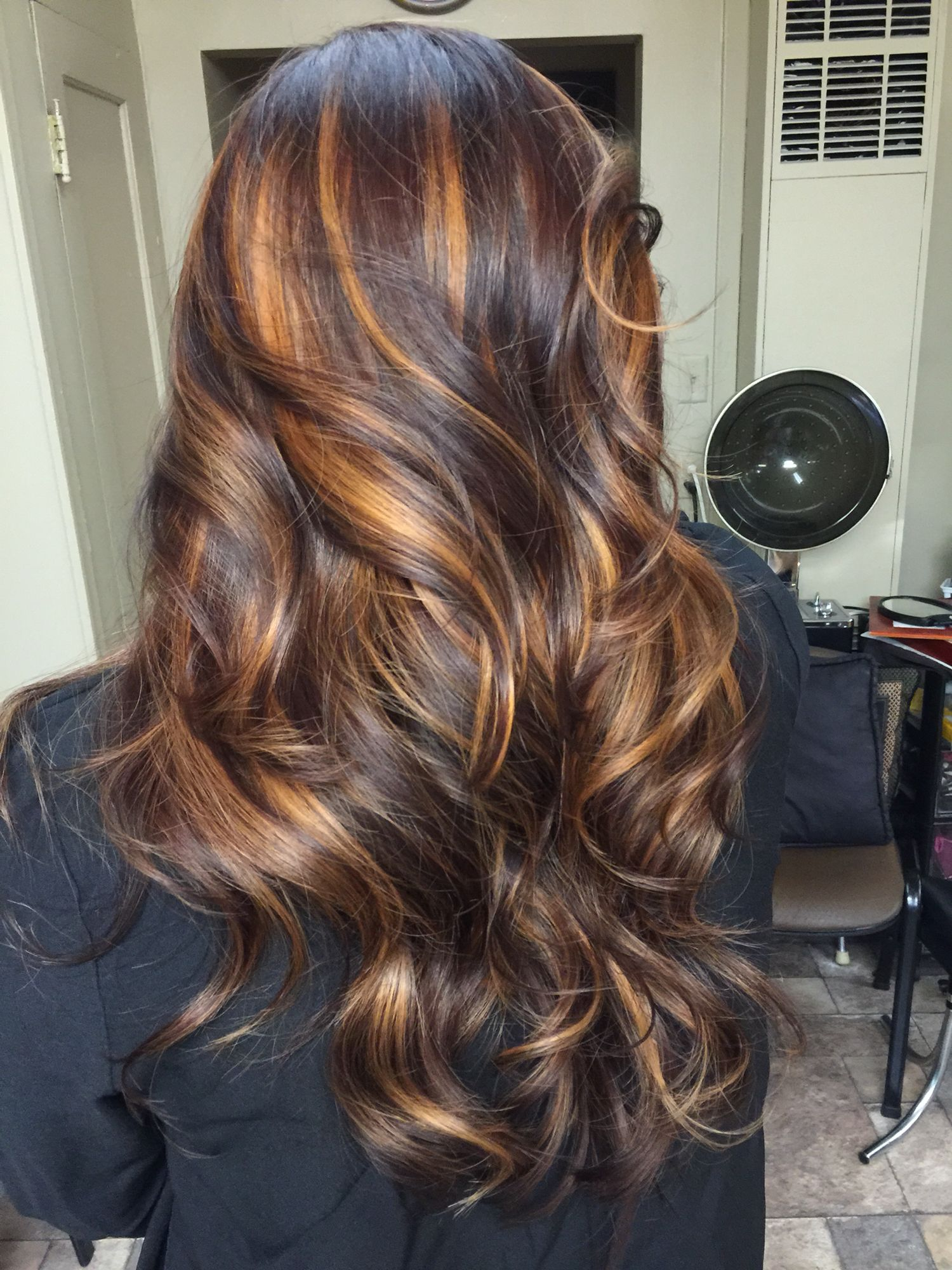 dark brown violet with melted caramel highlights matrixcolor