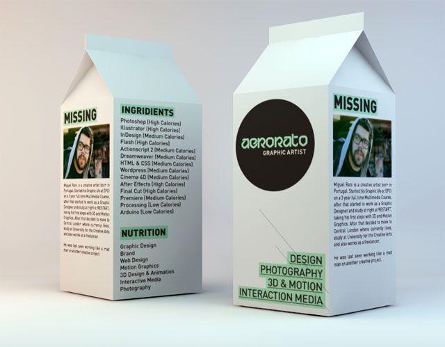 Creative Milk Carton Inspired #CV! Creative CV Inspiration