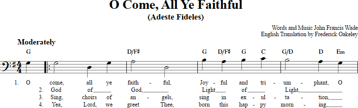 O Come All Ye Faithful sheet music with chords and lyrics for bass ...