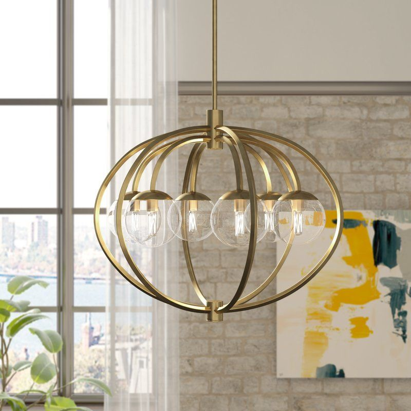 50 Cool And Creative Shabby Chic Dining Rooms: Bynoe 6 - Light Unique Globe Chandelier In 2020
