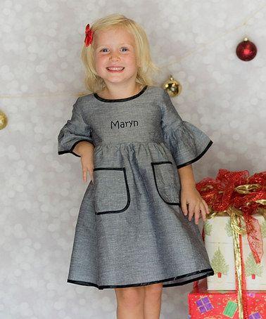 Silver & Black Personalized Dress - Toddler & Girls by Princess Linens #zulily #zulilyfinds