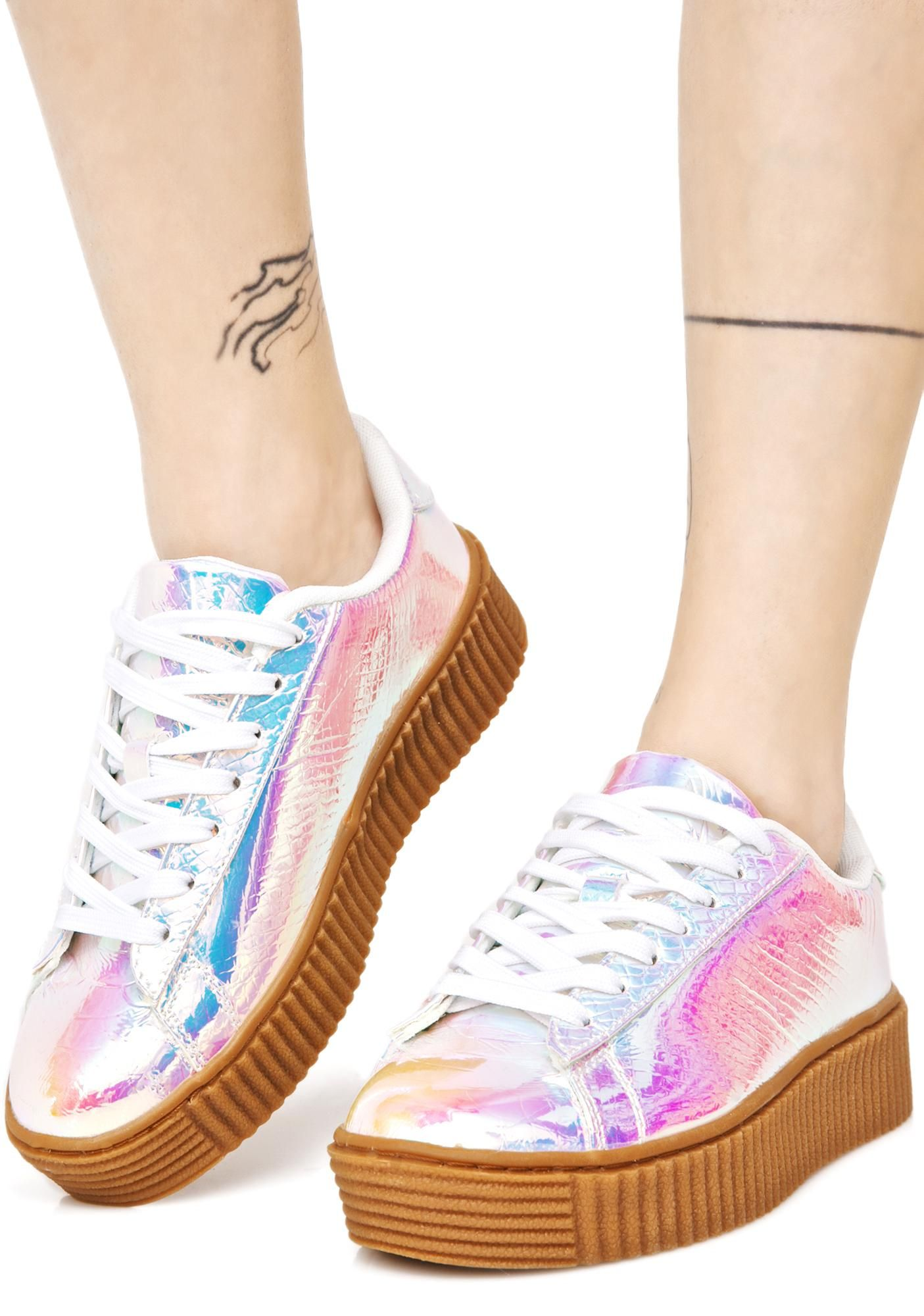 0b6cd297a66d0 Arcadia Holographic Creeper Sneakers cuz like