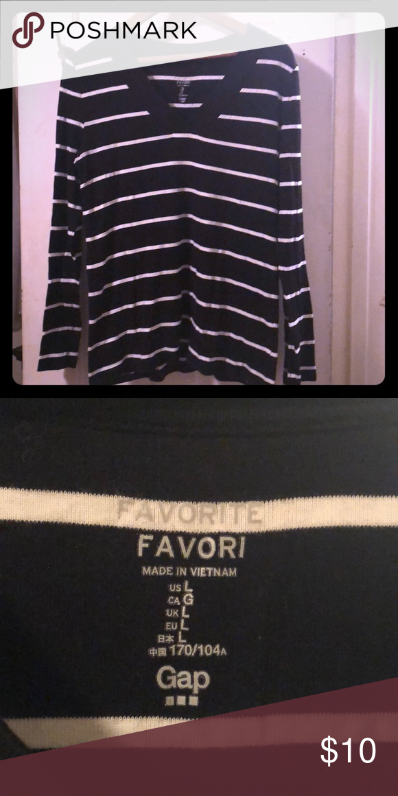 GAP Ladies Black /& White striped Top// long UK Size
