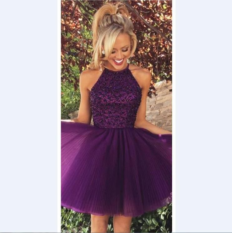 Purple cocktail homecoming dresses