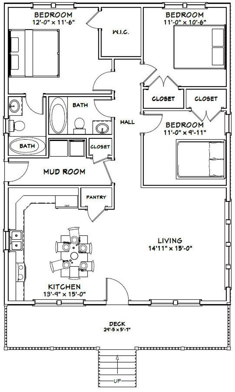 30x40 House 3 Bedroom 2 Bath 1 200 Sq Ft Pdf Floor Plan Instant Download Model 2g In 2021 Small House Floor Plans Pole Barn House Plans House Layout Plans