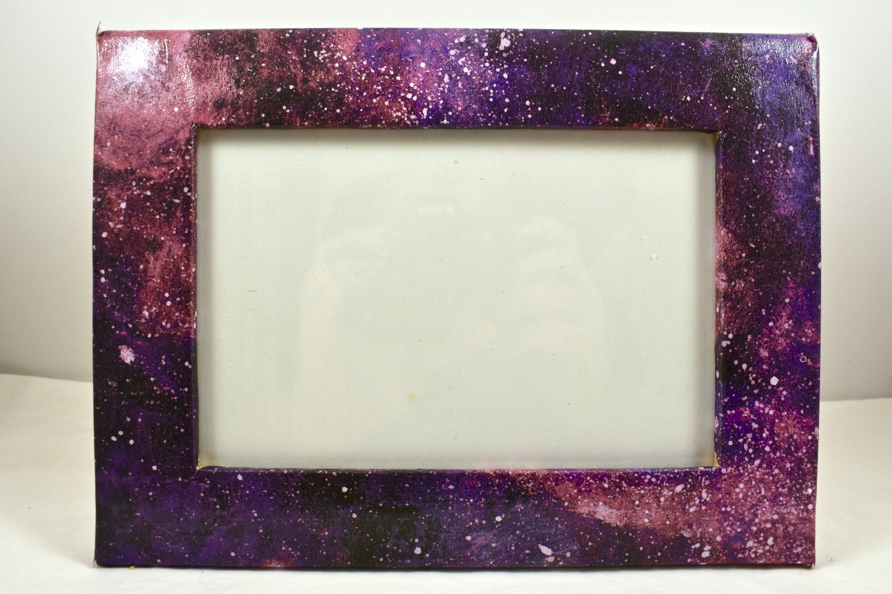 Purple Pink Decoupaged Picture Frame Galaxy 4x6 Cardstock Picture