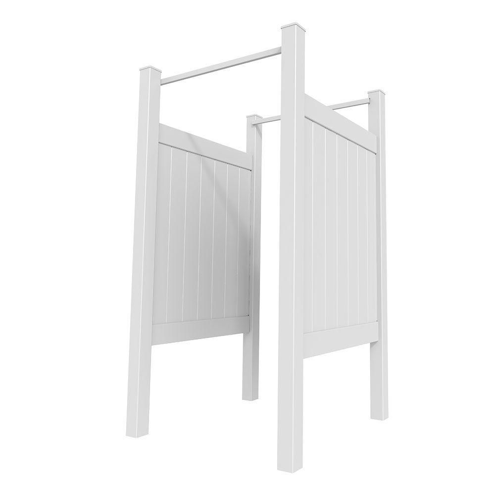 5 Ft. H X 4 Ft. W Vinyl Outdoor Shower Fence Stall Kit   Unassembled, White