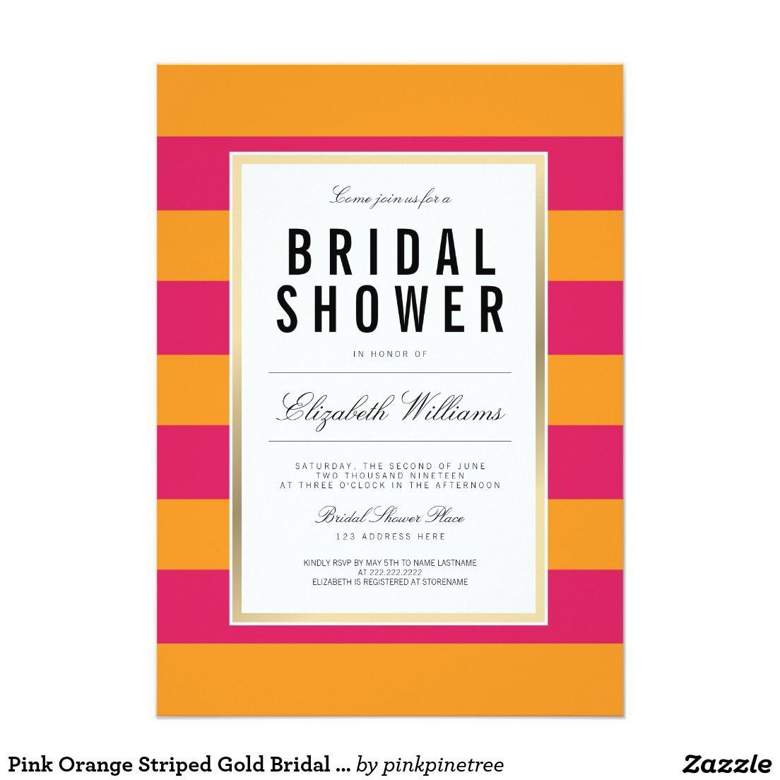 Pink Orange Striped Gold Bridal Shower Invite