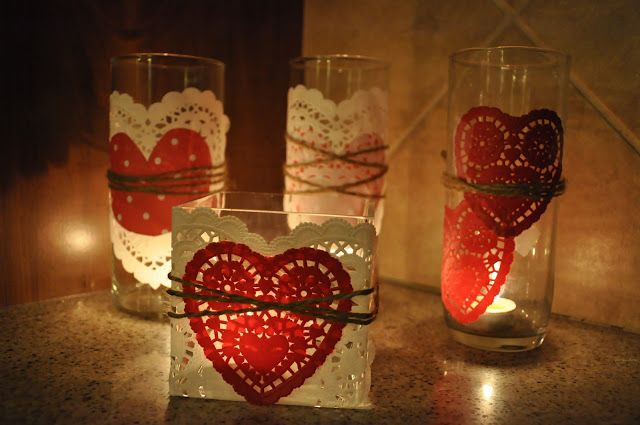 Heart candle holders with dollies and hearts