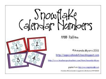 Free Calendar numbers with a snowflake theme.  Numbers 1 to 31.  Also contain a AABB pattern....