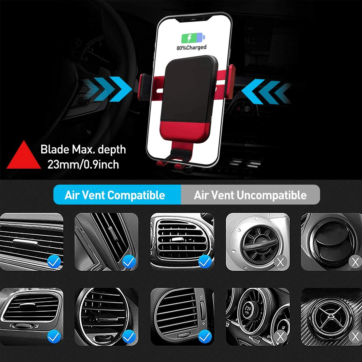 Wireless Car Charger 9 8 Vent Phone Holder Mount for iPhone 11//11 Pro//11 Pro Max//Xs Max//Xr//Xs//X//8//8 Plus//Samsung Galaxy S10 S9 S8 Note 10 Infrared Smart Sensor Auto Clamping Silver